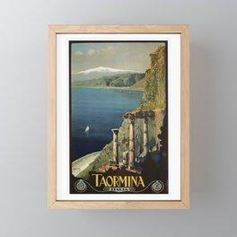 Vintage Taormina Sicily Italian travel ad Framed Mini Art Print