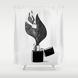 Fired up. Shower Curtain