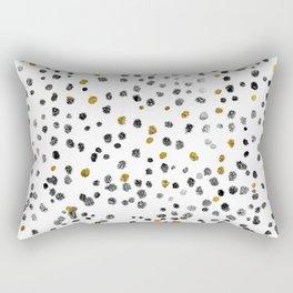 Dots Gold Black and White Rectangular Pillow