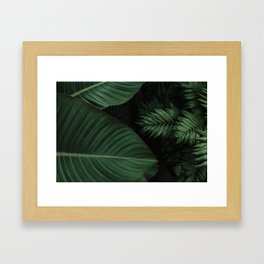 Tropical Beauty // Tropical Boho Leaves meets Minimalist Patterns Framed Art Print