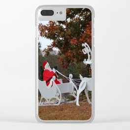 Santa Sleigh And Reindeer Clear iPhone Case