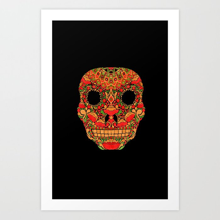 Skull in Khokhloma Style Art Print