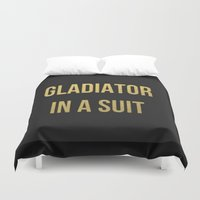 gladiator Duvet Covers featuring Gladiator in a suit Gold by Luxe Glam Decor