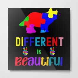 Autism Awareness Blue Month Different is Beautiful Metal Print