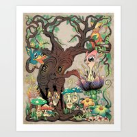 jungle Art Prints featuring JUNGLE by GEEKY CREATOR