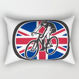 British Cyclist Cycling Union Jack Flag Icon Rectangular Pillow