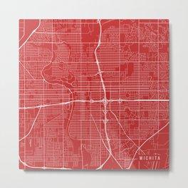 Wichita Map, USA - Red Metal Print
