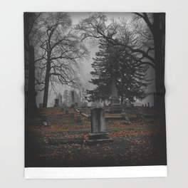 cemetery fog Throw Blanket