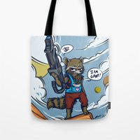 rocket raccoon Tote Bags featuring Rocket Raccoon and Baby Groot  by BlacksSideshow
