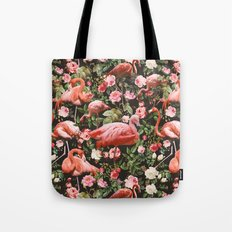 Floral and Flemingo Pattern Tote Bag