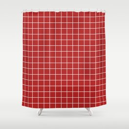 Firebrick - red color -  White Lines Grid Pattern Shower Curtain