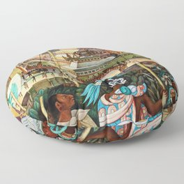 The Totonac Civilization or the Jaguar People in Veracruz, Palacio Nacional Mexico by Diego Rivera Floor Pillow
