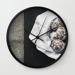 Fresh gingerbread in a plate with a white cloth Wall Clock
