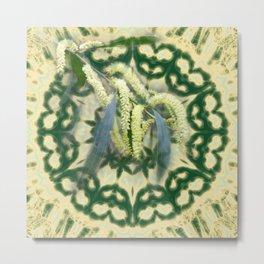 Wattle on green and yellow kaleidoscope Metal Print