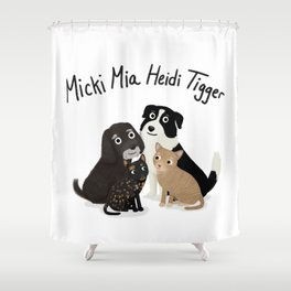 "Custom Artwork, ""Micki Mia Heidi Tigger"" Shower Curtain"