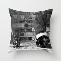 old school Throw Pillows featuring old school by Jennifer Townsend