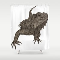 lizard Shower Curtains featuring Lizard by Redmonks