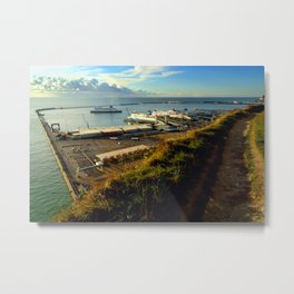 Dover Docks from the White Cliffs Metal Print