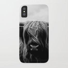 Scottish Highland Cattle Black and White Animal iPhone Case