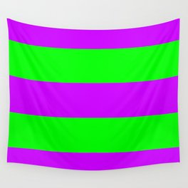 Neon Purple & Green Wide Horizontal Stripes #2 Wall Tapestry