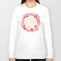 coffee Long Sleeve T-shirts featuring Coffee by Cat Coquillette