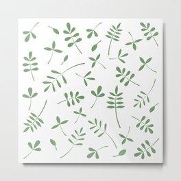 Green Leaves Design on White Metal Print