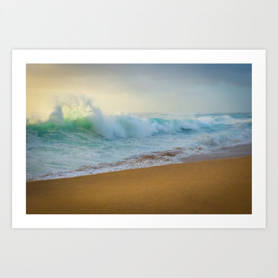 Crashing waves at Makaha Art Print