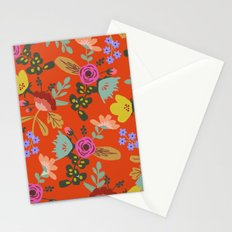 Funky Red Floral Stationery Cards