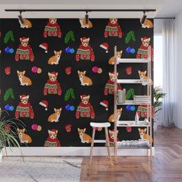 Christmas corgi puppy art Wall Mural