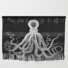 Octopus   Black and White Wall Hanging