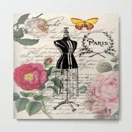 french country rose floral modern vintage dress mannequin paris fashion Metal Print