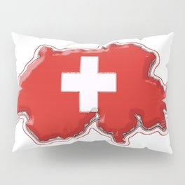 Switzerland Map with Swiss Flag Pillow Sham