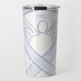 Diabetes Gray Awareness Ribbon Angel Art Travel Mug