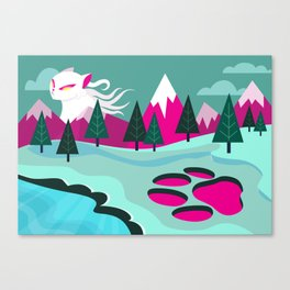 Monster Cat in the Mountains Canvas Print