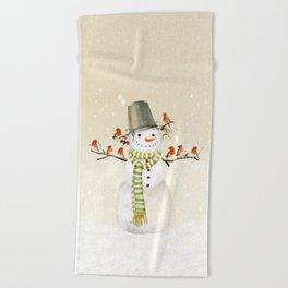Snowman and Birds Beach Towel
