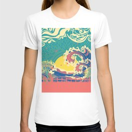 Stylized trees and stormy ocean or sea at sunset T-shirt