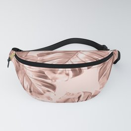 Rose Gold Monstera Leaves on Blush Pink 2 Fanny Pack