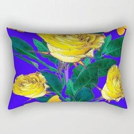 ROSES & YELLOW BUTTERFLIES INDIGO PURPLE VIGNETTE ABSTRACT Rectangular Pillow