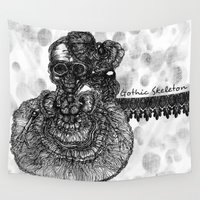 gothic Wall Tapestries featuring Gothic Skeleton by AKIKO