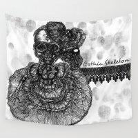 skeleton Wall Tapestries featuring Gothic Skeleton by AKIKO