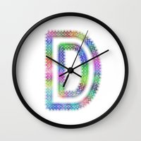 letter Wall Clocks featuring Letter D by David Zydd