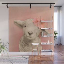 Flower Sheep Girl Portrait, Dusty Flamingo Pink Background Wall Mural