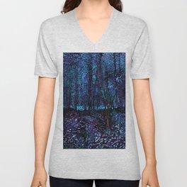 Van Gogh Trees & Underwood Indigo Turquoise Unisex V-Neck