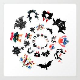 Rorschach test subjects' perceptions of inkblots psychology   thinking Exner score Art Print