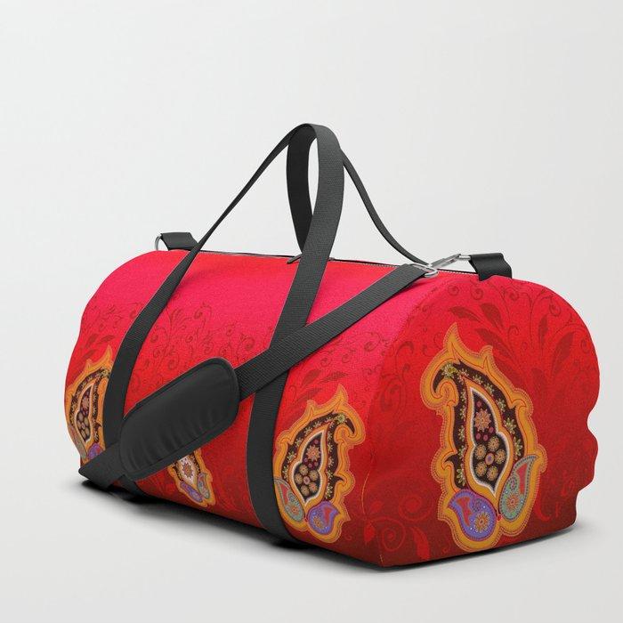 red jewel paisley border Duffle Bag
