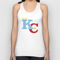kansas city Tank Tops featuring Kansas City Sports Red & Blue by Haley Jo Phoenix