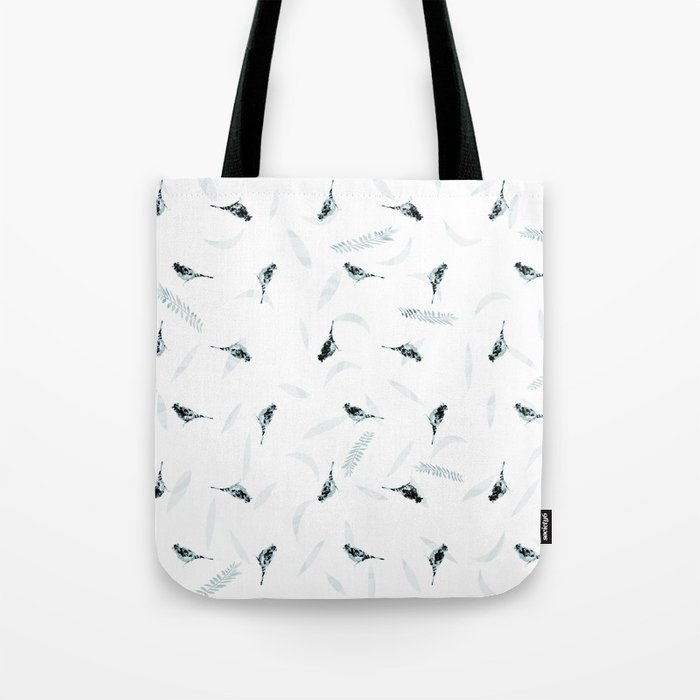Primitive Blue and Black Birds and Leaves Pattern Tote Bag