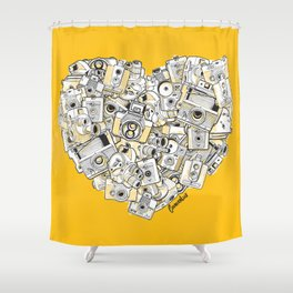 Camera Heart - on yellow Shower Curtain