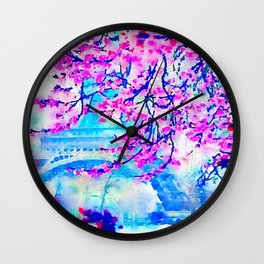 Paris Day in Fuchsia and Blue Wall Clock