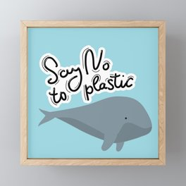 Say no to plastic. Whale, sea, ocean.  Pollution problem concept Eco, ecology banner poster. Framed Mini Art Print